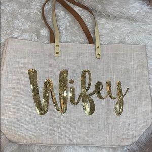 "Handbags - Linen ""Wifey"" Tote"